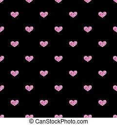 różowy, serce, seamless, czarne tło, blask