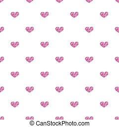 różowy, serce, seamless, tło, biały, blask