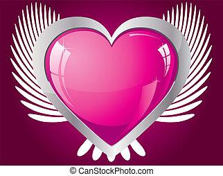 różowy, serce, skrzydlaty, ilustracja, wektor, blask
