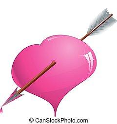 różowy, serce, wektor, ilustracja, przedziurawiony, strzała, blask