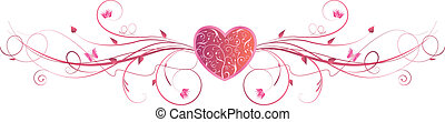 różowy, serce, wiry, kwiatowy, valentine