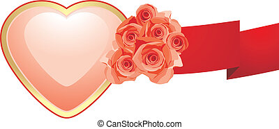 różowy, serce, wstążka, róże
