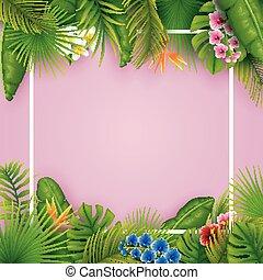 różowy, skwer, liście, tropikalny, tło, kwiaty, ułożyć, opróżniać