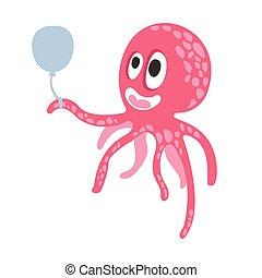 różowy, sprytny, balloon, rafa, zabawny, koral, litera, ilustracja, powietrze, wektor, zwierzę, dzierżawa, ocean, ośmiornica, rysunek