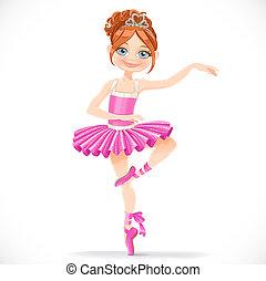 różowy, sprytny, brunetka, balerina, taniec, odizolowany,...