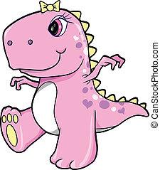 różowy, sprytny, dziewczyna, dinozaur, t-rex