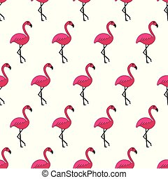 różowy, sprytny, flamingo., próbka, seamless, hand-drawn