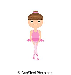 różowy, sprytny, mały, balet, tło, dziewczyna, strój, biały