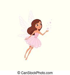 różowy, sprytny, mały, dress., wróżka, barwny, płaski, rozpościerający się, przelotny, litera, fairytale, wings., chochlik, brunatno-haired, wektor, projektować, dziewczyna, magiczny, rysunek, dust.