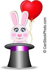 różowy, sprytny, magia, posiedzenie, balloon, królik, kapelusz, rysunek