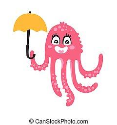 różowy, sprytny, rafa, parasol, koral, litera, ilustracja, ocean, zabawny, wektor, zwierzę, dzierżawa, ośmiornica, rysunek