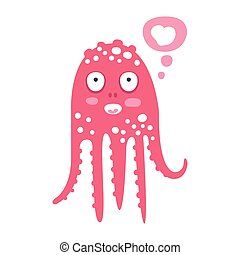 różowy, sprytny, rafa, zabawny, koral, litera, ilustracja, ocean, wektor, zwierzę, śniący, ośmiornica, rysunek