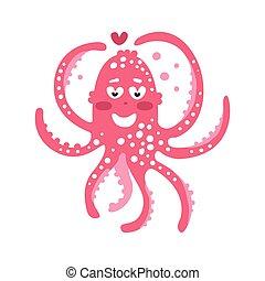 różowy, sprytny, rafa, zabawny, litera, koral, enamored, ilustracja, ocean, wektor, zwierzę, ośmiornica, rysunek