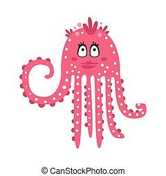 różowy, sprytny, rafa, zabawny, litera, koral, flirciarski, ilustracja, ocean, wektor, zwierzę, dziewczyna, ośmiornica, rysunek