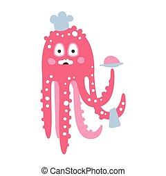 różowy, sprytny, rafa, zabawny, litera, koral, ilustracja, ocean, mistrz kucharski, wektor, zwierzę, ośmiornica, rysunek