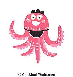 różowy, sprytny, rafa, zabawny, litera, koral, ilustracja, ocean, wektor, zwierzę, ośmiornica, rysunek, kelnerka