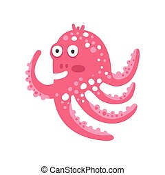 różowy, sprytny, rafa, zabawny, litera, koral, ilustracja, ocean, wektor, zwierzę, ośmiornica, rysunek, zdziwiony