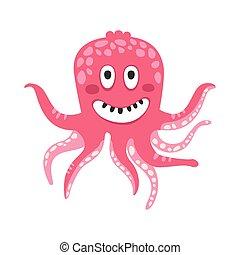 różowy, sprytny, rafa, zabawny, litera, koral, ilustracja, ocean, wektor, zwierzę, uśmiechanie się, ośmiornica, rysunek