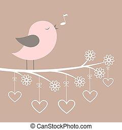 różowy, sprytny, serca, koronkowy, śpiewać, kwiaty, ptak