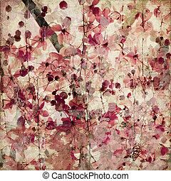 różowy, starożytny, grunge, kwiat, tło, bambus