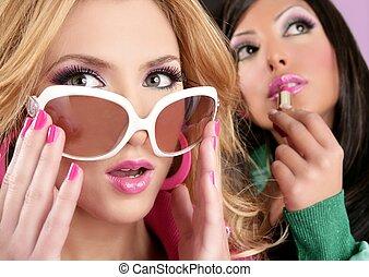 różowy, styl, fason, barbie, dziewczyny, makijaż, lalka, lipstip