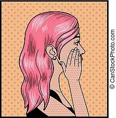różowy, styl, kobieta, sztuka, hukiem, włosy