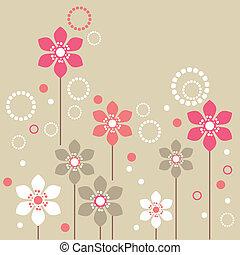 różowy, stylizowany, beżowe tło, białe kwiecie