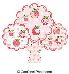 różowy, stylizowany, drzewo, jabłko