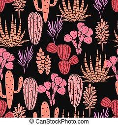 różowy, succulents, roślina flora, budowla, róża, pattern., seamless, wektor, czarnoskóry, kaktus, botaniczny, print.