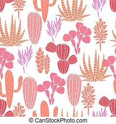 różowy, succulents, roślina flora, budowla, róża, pattern., seamless, wektor, kaktus, botaniczny, print.