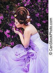 różowy, suknia, kobieta