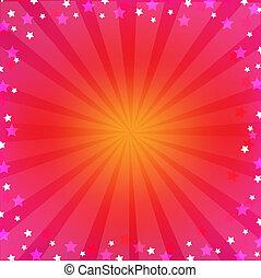 różowy, sunburst, barwny, tło