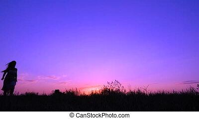 różowy, sylwetka, taniec, młody, zachód słońca, dziewczyna