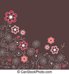 różowy, szary, ciemne tło, kwiatowy, kwiaty