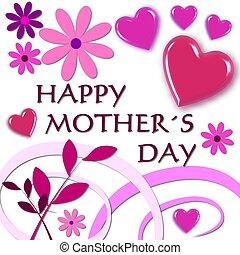 różowy, szczęśliwy, dzień, matki