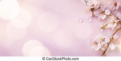 różowy, sztuka, kwiat, wiosna, tło, brzeg