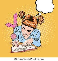 różowy, sztuka, skarpety, pisanie, hukiem, wektor, ilustracja, dziewczyna, diary.