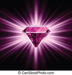 różowy, tło., jasny, diament, wektor