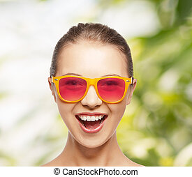 różowy, teenage, sunglasses, dziewczyna, szczęśliwy