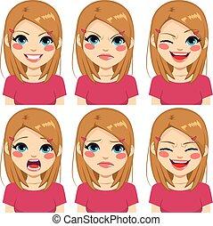 różowy, teenage, twarz, dziewczyna, wyrażenia