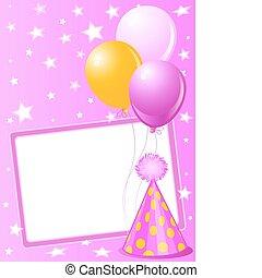 różowy, urodzinowa karta