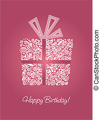 różowy, urodzinowa karta, szczęśliwy