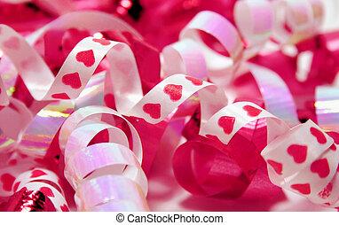 różowy, valentine, wstążki