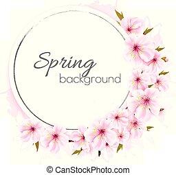 różowy, vector., wiosna, flowers., tło, rozkwiecony
