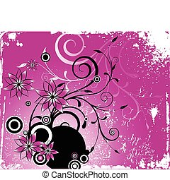 różowy, wektor, kwiat, grunge, ornament.