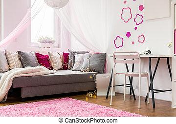 różowy, wewnętrzny, biały