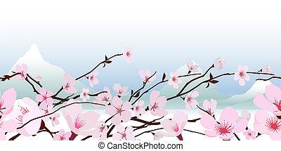 różowy, wiosna, kwiat, delikatny