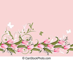 różowy, wiosna, poziomy, tło