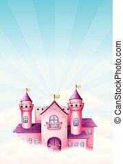 różowy, wróżka, zamek, tło
