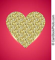różowy, złoty, blask, serce